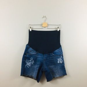 A. Glow | Denim Floral Embroidered Shorts